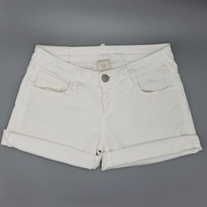 True Religion Cassie Rolled Shorts White Stretch